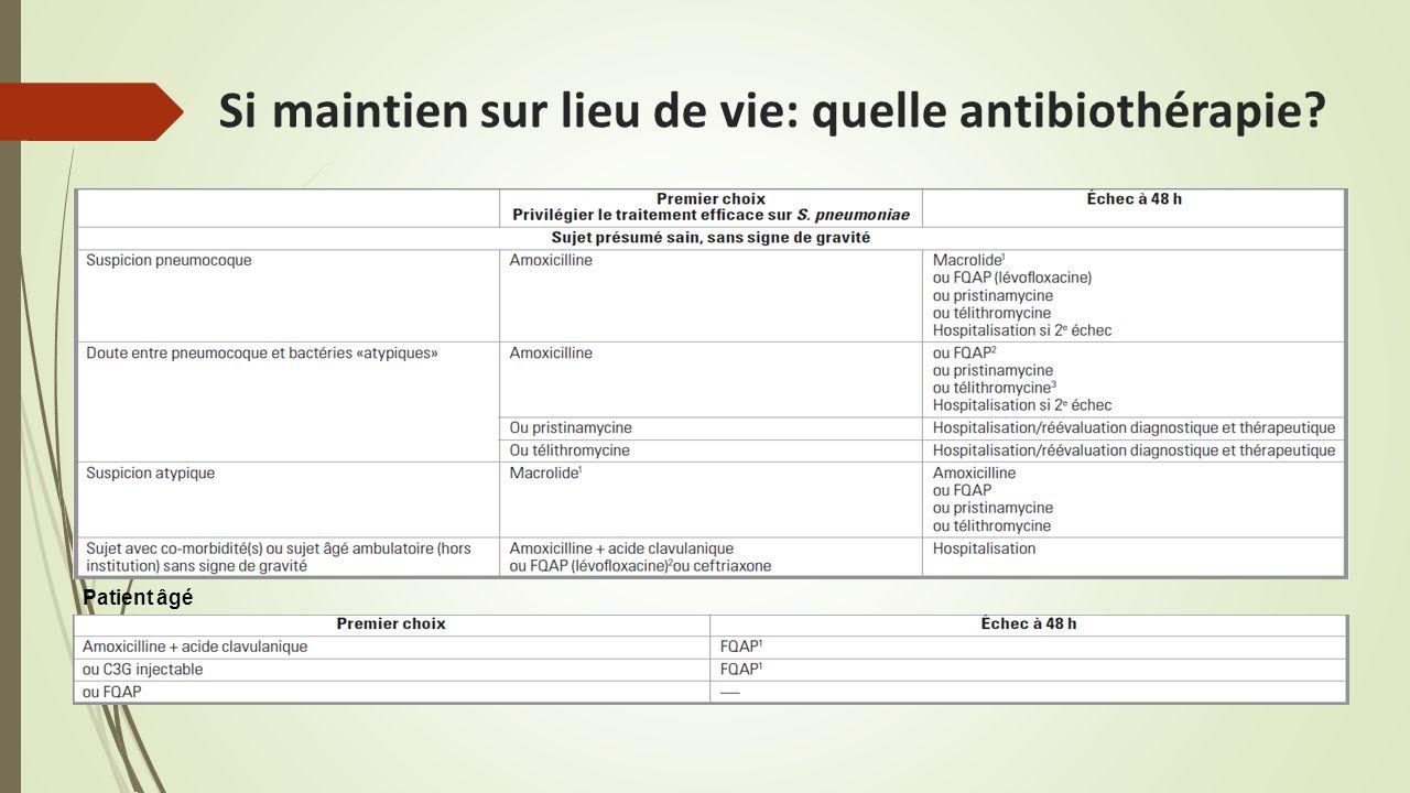 Si maintien sur lieu de vie: quelle antibiothérapie
