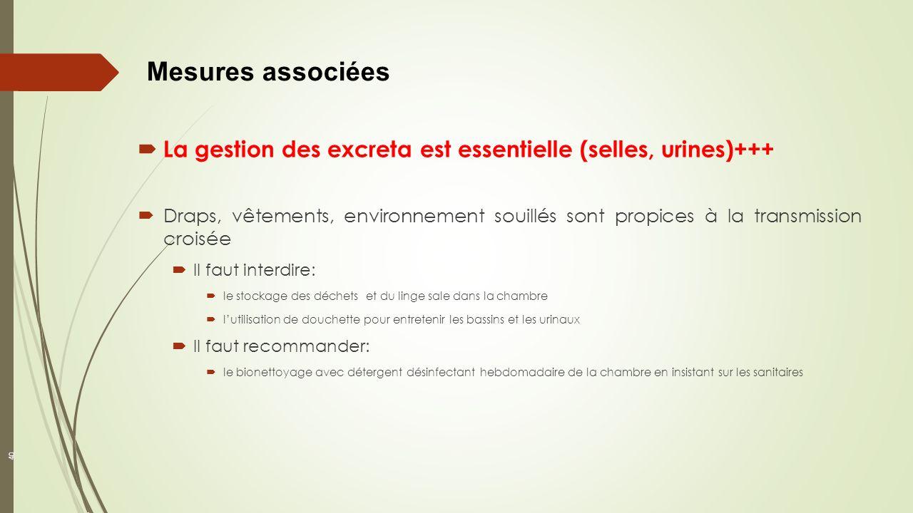 Mesures associées La gestion des excreta est essentielle (selles, urines)+++