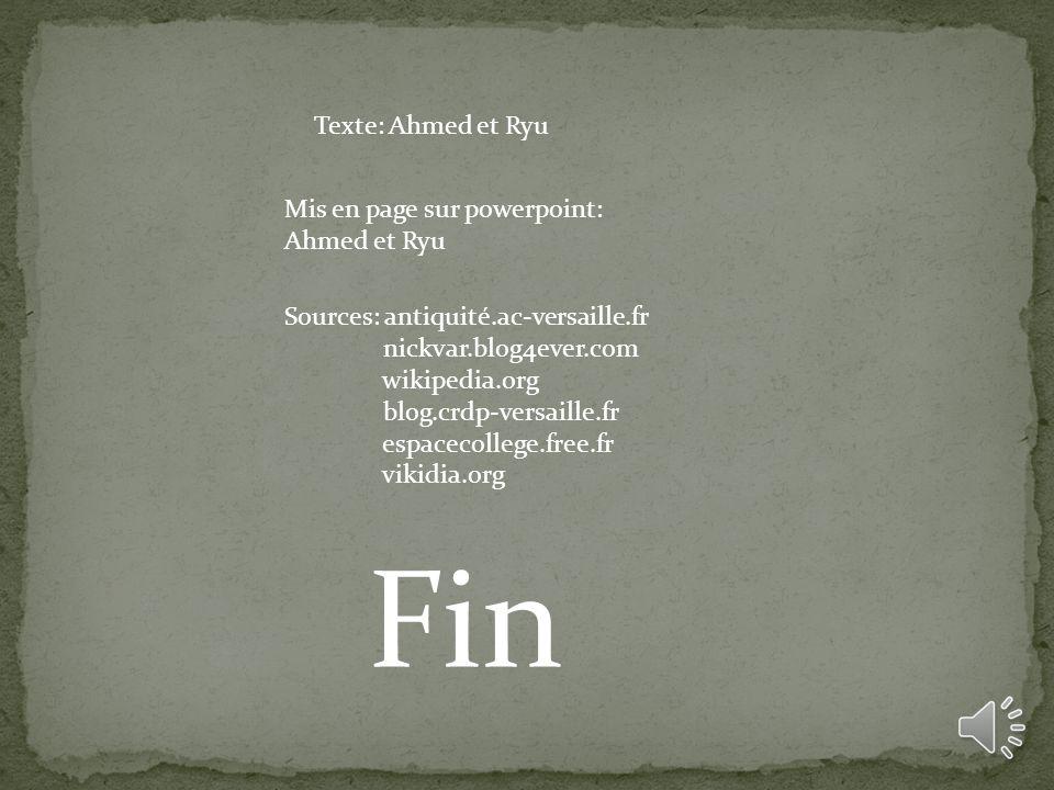 Fin Texte: Ahmed et Ryu Mis en page sur powerpoint: Ahmed et Ryu