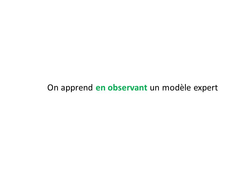 On apprend en observant un modèle expert