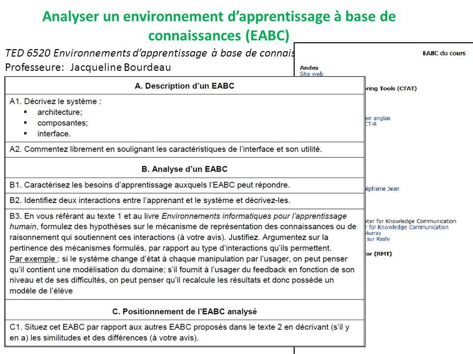 Analyser un environnement d'apprentissage à base de connaissances (EABC)