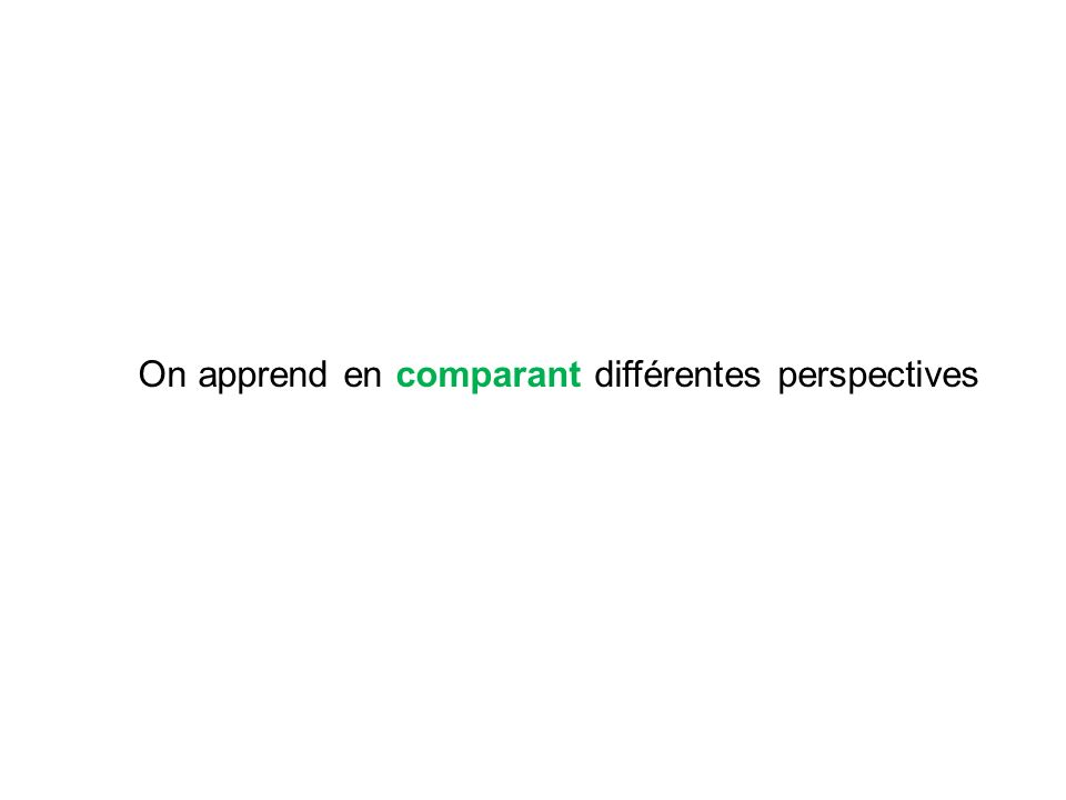 On apprend en comparant différentes perspectives