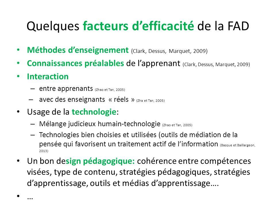 Quelques facteurs d'efficacité de la FAD