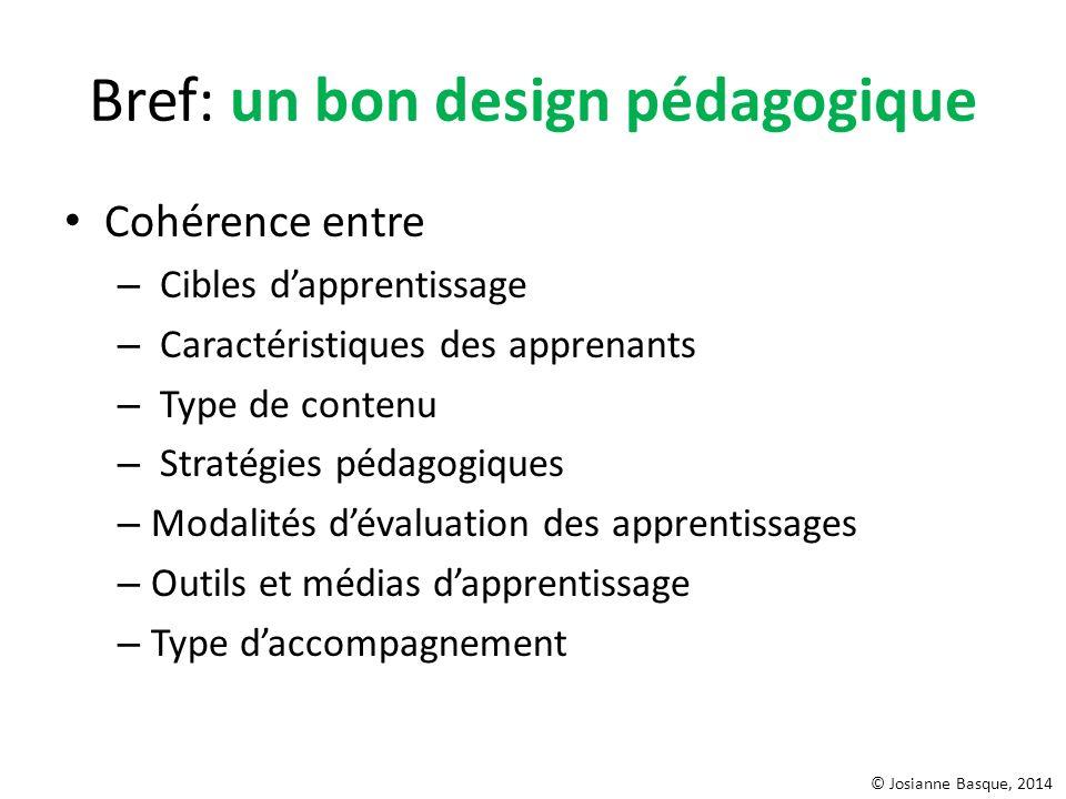 Bref: un bon design pédagogique