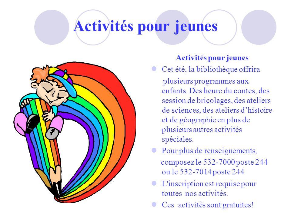 Activités pour jeunes Activités pour jeunes