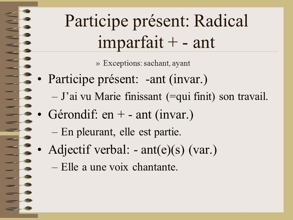 Participe présent: Radical imparfait + - ant