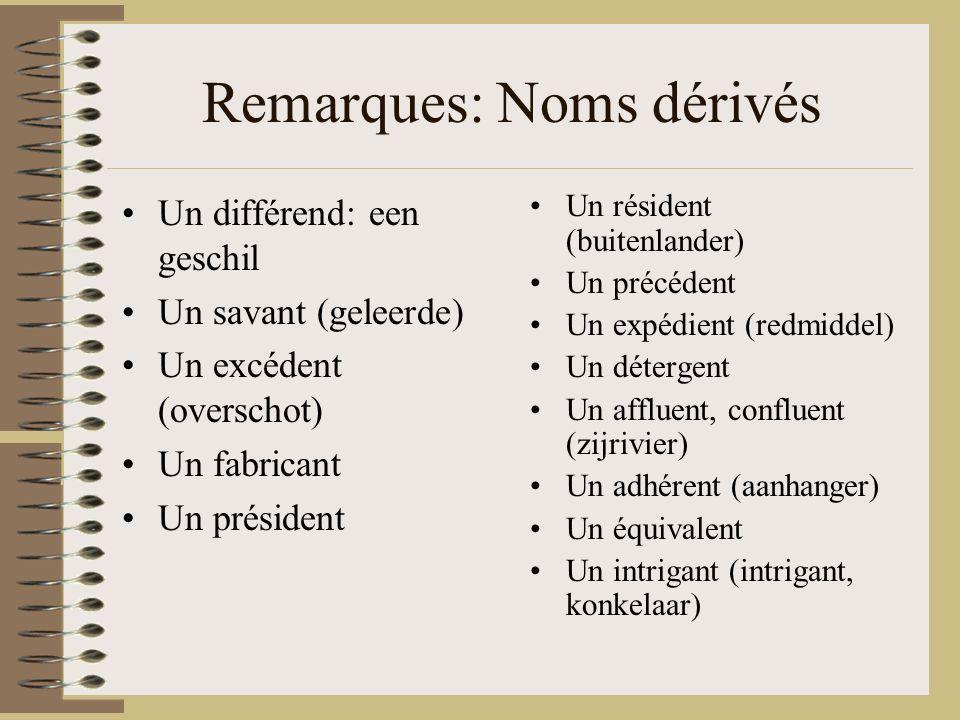 Remarques: Noms dérivés