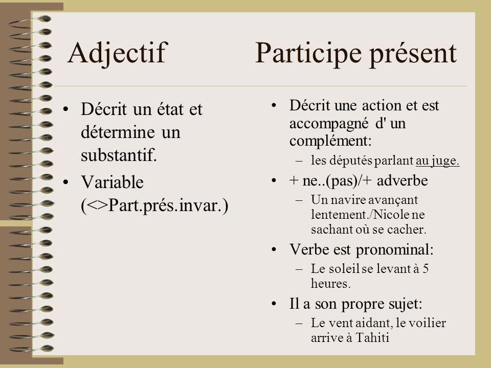 Adjectif Participe présent