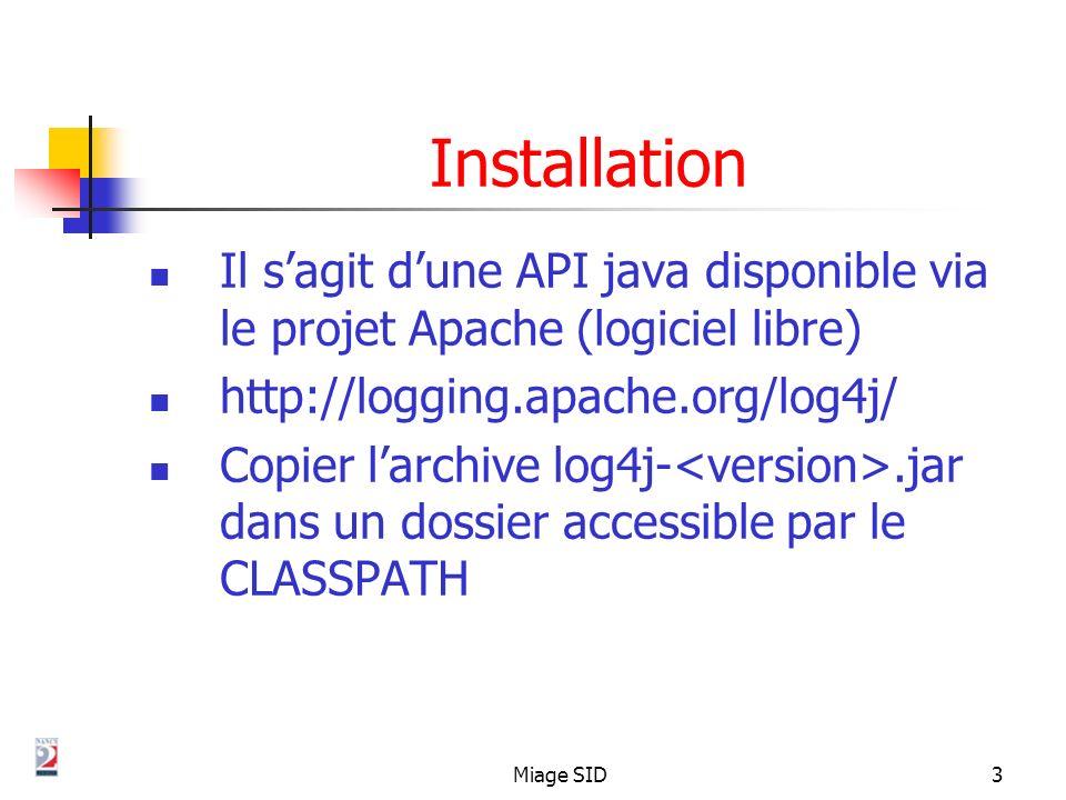 Installation Il s'agit d'une API java disponible via le projet Apache (logiciel libre) http://logging.apache.org/log4j/