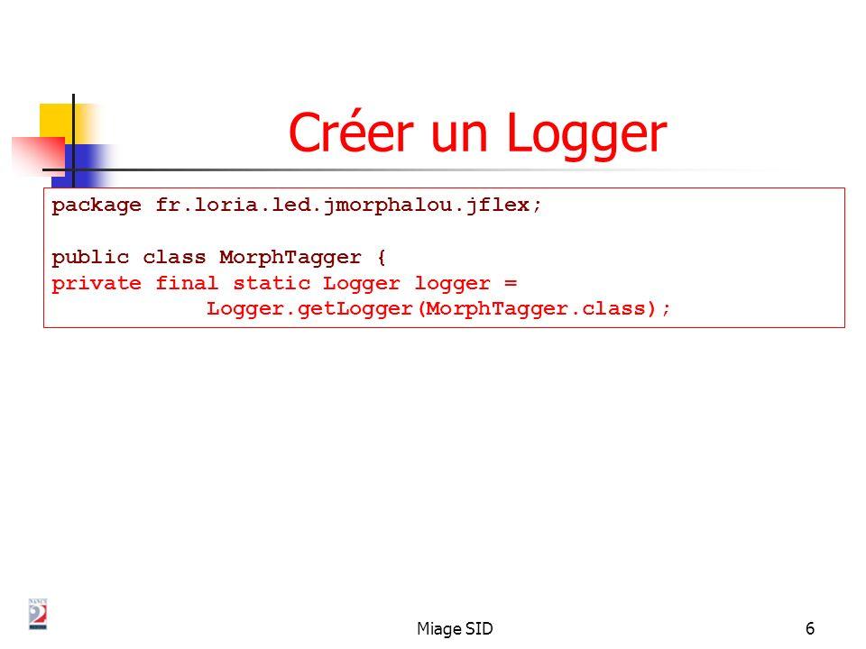 Créer un Logger package fr.loria.led.jmorphalou.jflex;