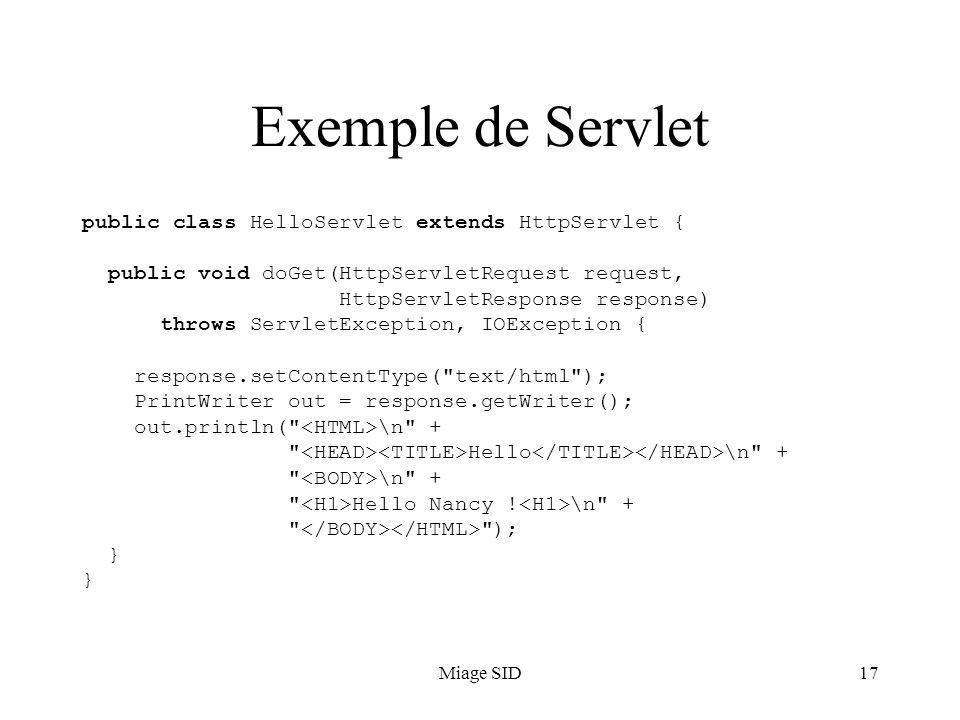 Exemple de Servlet public class HelloServlet extends HttpServlet {
