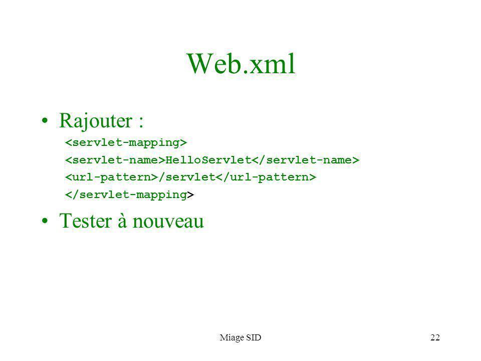 Web.xml Rajouter : Tester à nouveau <servlet-mapping>