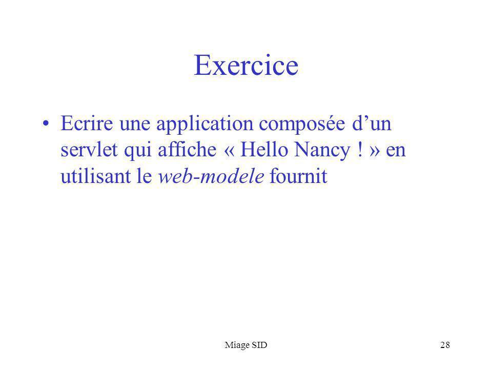 Exercice Ecrire une application composée d'un servlet qui affiche « Hello Nancy ! » en utilisant le web-modele fournit.