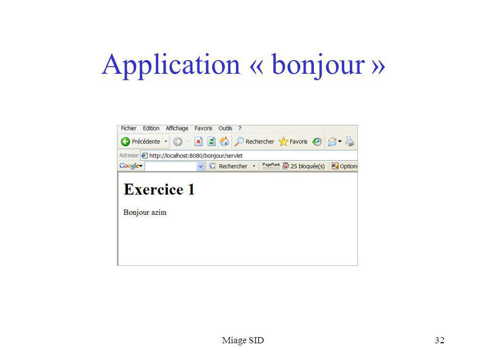 Application « bonjour »