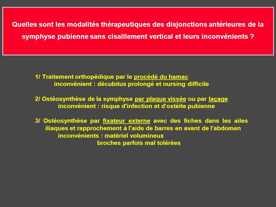 Quelles sont les modalités thérapeutiques des disjonctions antérieures de la symphyse pubienne sans cisaillement vertical et leurs inconvénients