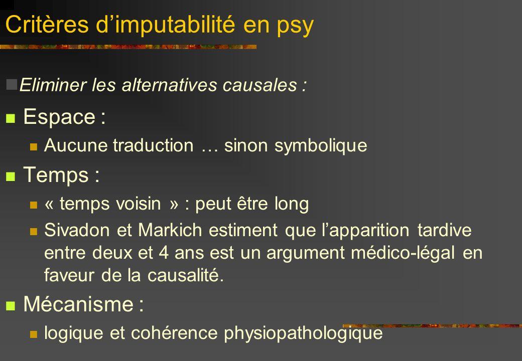Critères d'imputabilité en psy