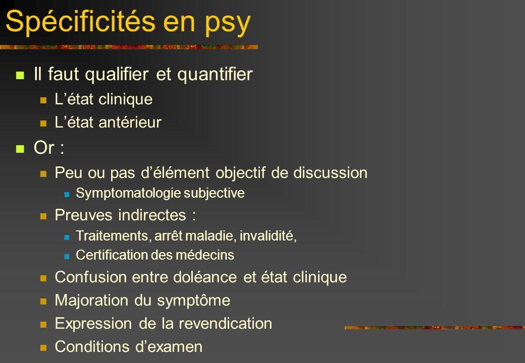 Spécificités en psy Il faut qualifier et quantifier Or :