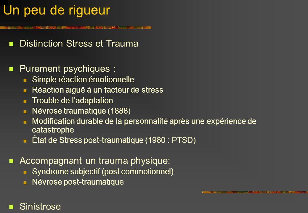 Un peu de rigueur Distinction Stress et Trauma Purement psychiques :