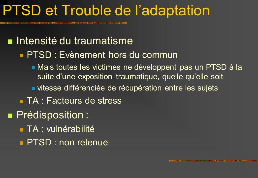 PTSD et Trouble de l'adaptation