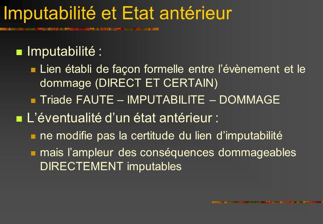 Imputabilité et Etat antérieur