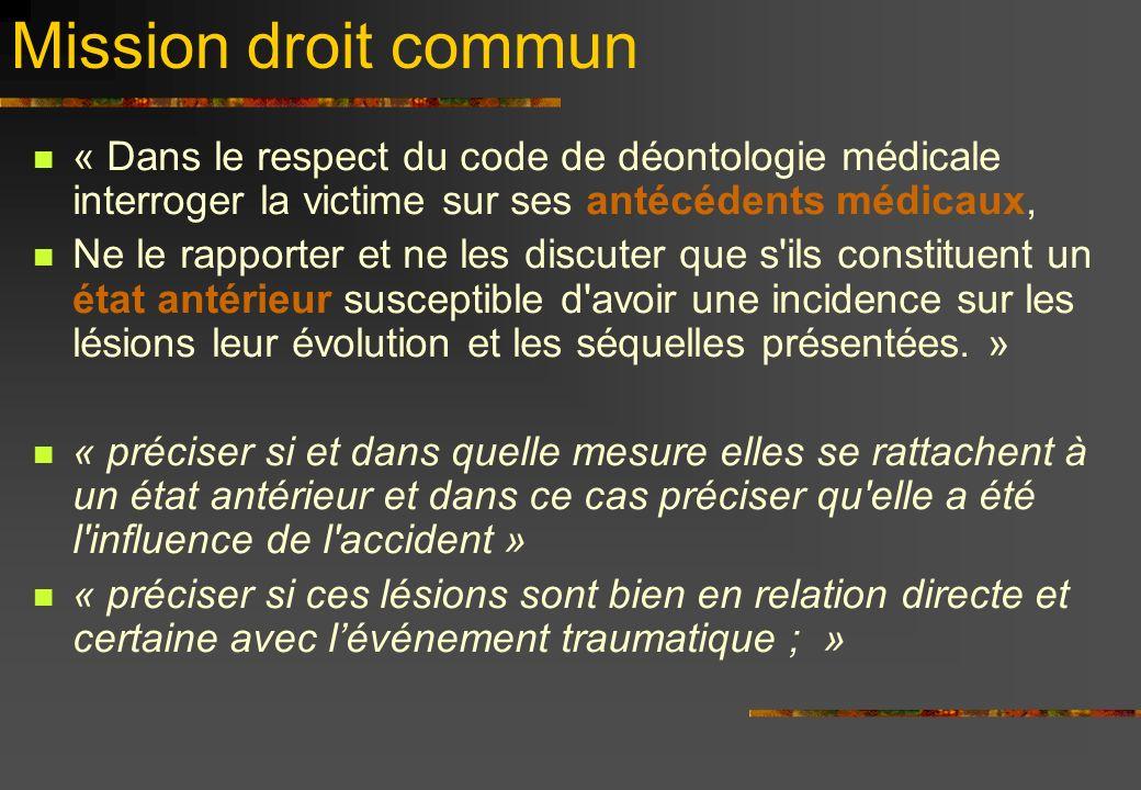 Mission droit commun « Dans le respect du code de déontologie médicale interroger la victime sur ses antécédents médicaux,