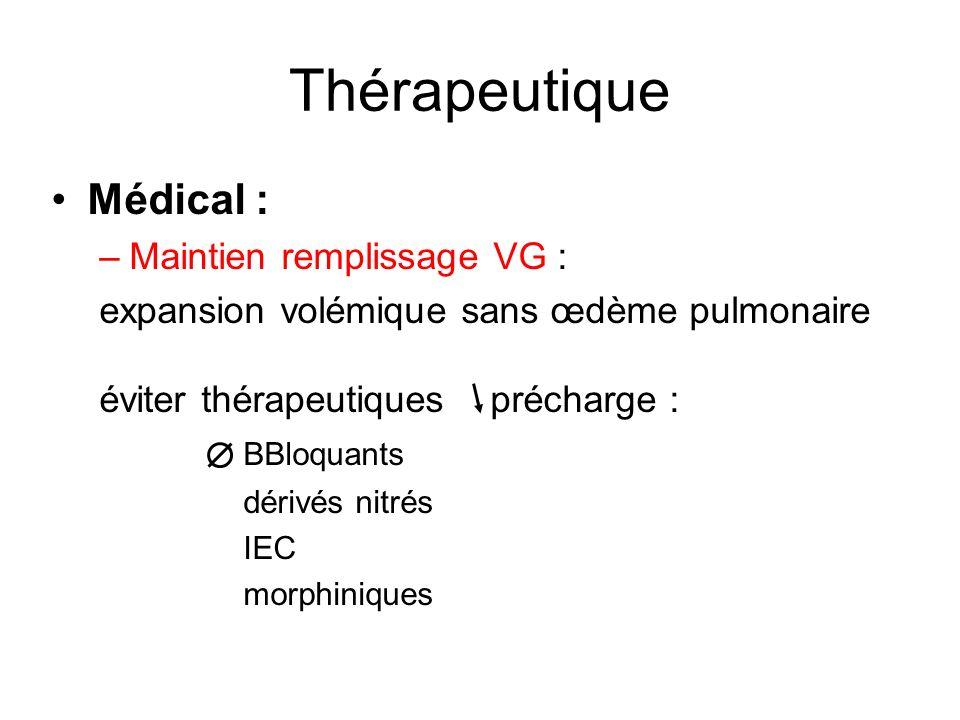 Thérapeutique Médical : Maintien remplissage VG :