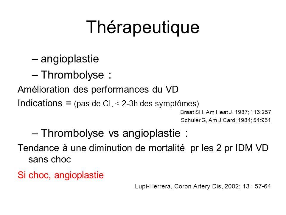 Thérapeutique angioplastie Thrombolyse : Thrombolyse vs angioplastie :