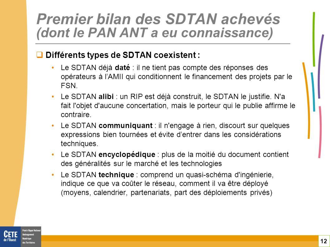 Premier bilan des SDTAN achevés (dont le PAN ANT a eu connaissance)