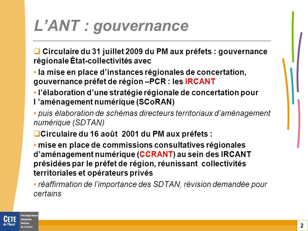 toitototototoot L'ANT : gouvernance. Circulaire du 31 juillet 2009 du PM aux préfets : gouvernance régionale État-collectivités avec.