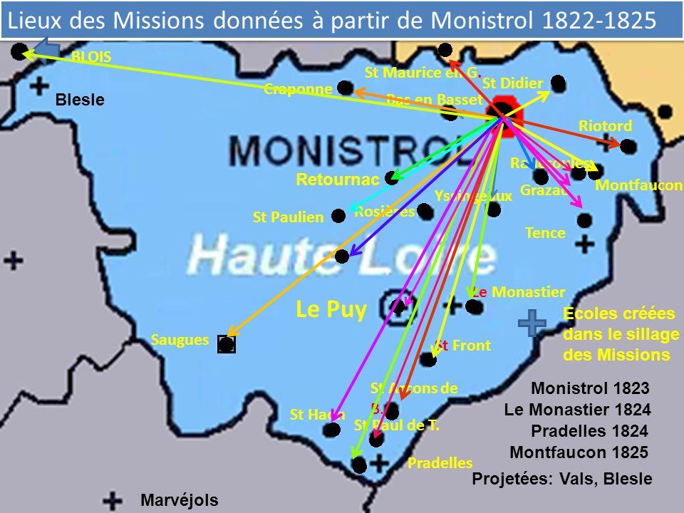 Lieux des Missions données à partir de Monistrol 1822-1825