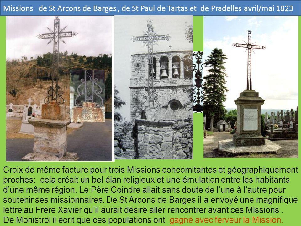 Missions de St Arcons de Barges , de St Paul de Tartas et de Pradelles avril/mai 1823