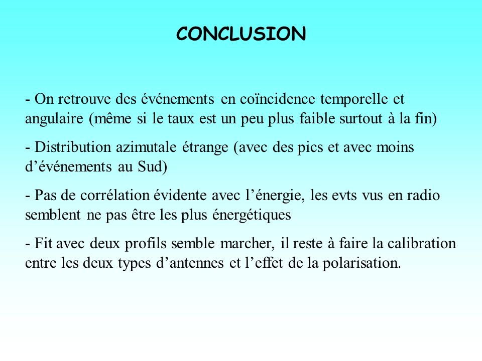 CONCLUSION - On retrouve des événements en coïncidence temporelle et angulaire (même si le taux est un peu plus faible surtout à la fin)