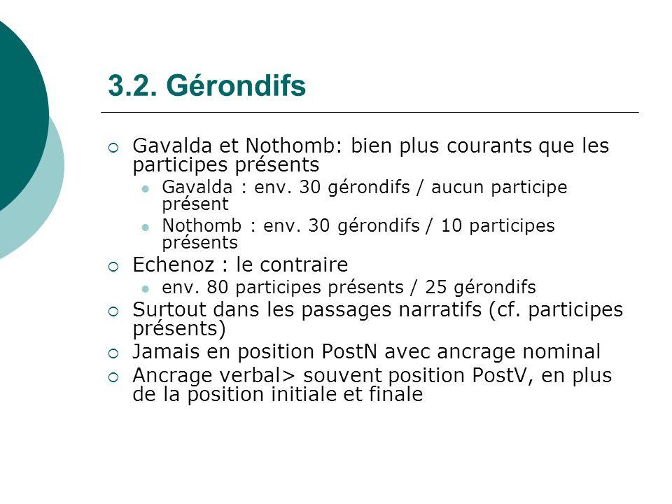3.2. Gérondifs Gavalda et Nothomb: bien plus courants que les participes présents. Gavalda : env. 30 gérondifs / aucun participe présent.
