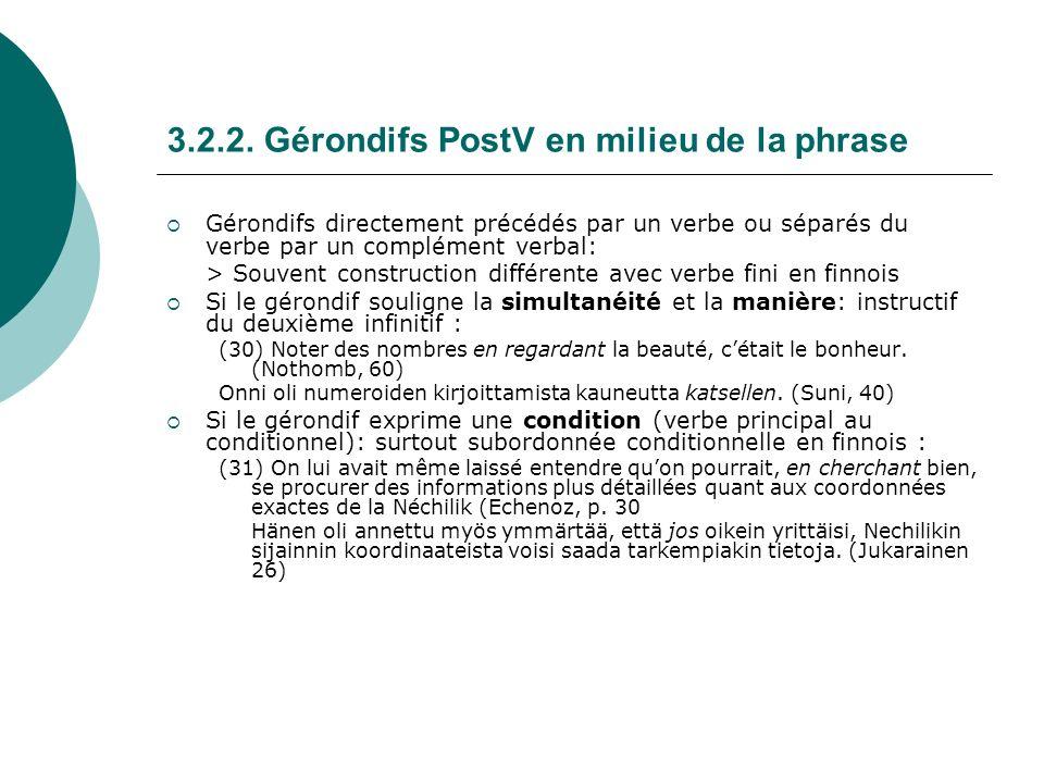 3.2.2. Gérondifs PostV en milieu de la phrase