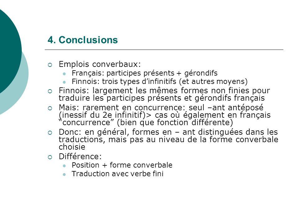 4. Conclusions Emplois converbaux: