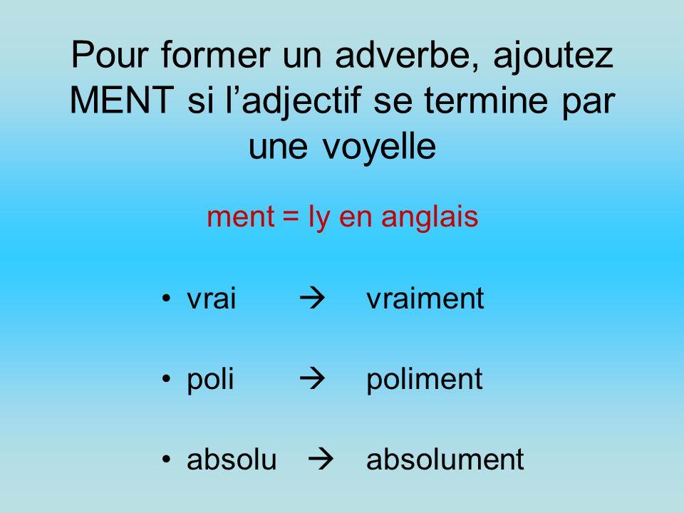 Pour former un adverbe, ajoutez MENT si l'adjectif se termine par une voyelle