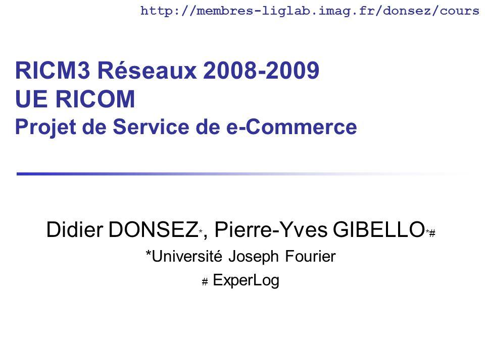 RICM3 Réseaux 2008-2009 UE RICOM Projet de Service de e-Commerce