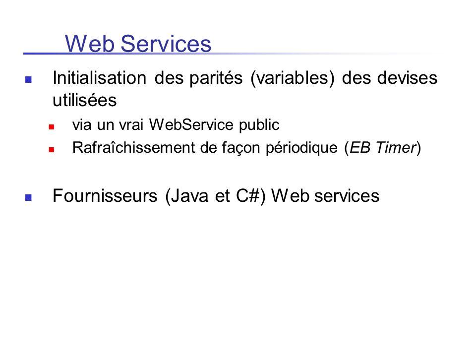 Web Services Initialisation des parités (variables) des devises utilisées. via un vrai WebService public.