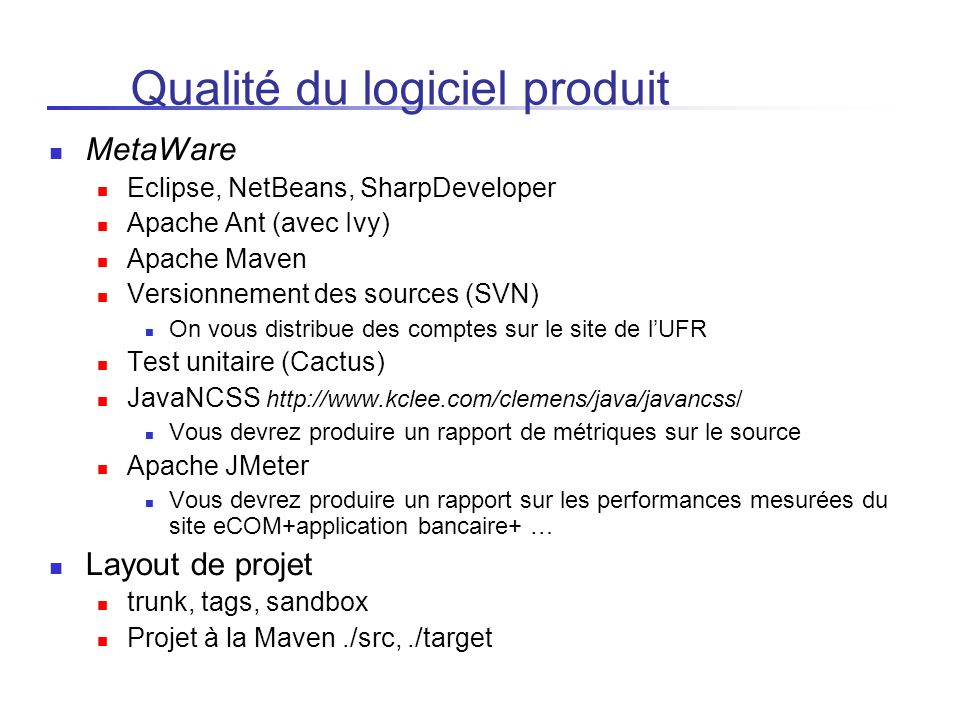 Qualité du logiciel produit