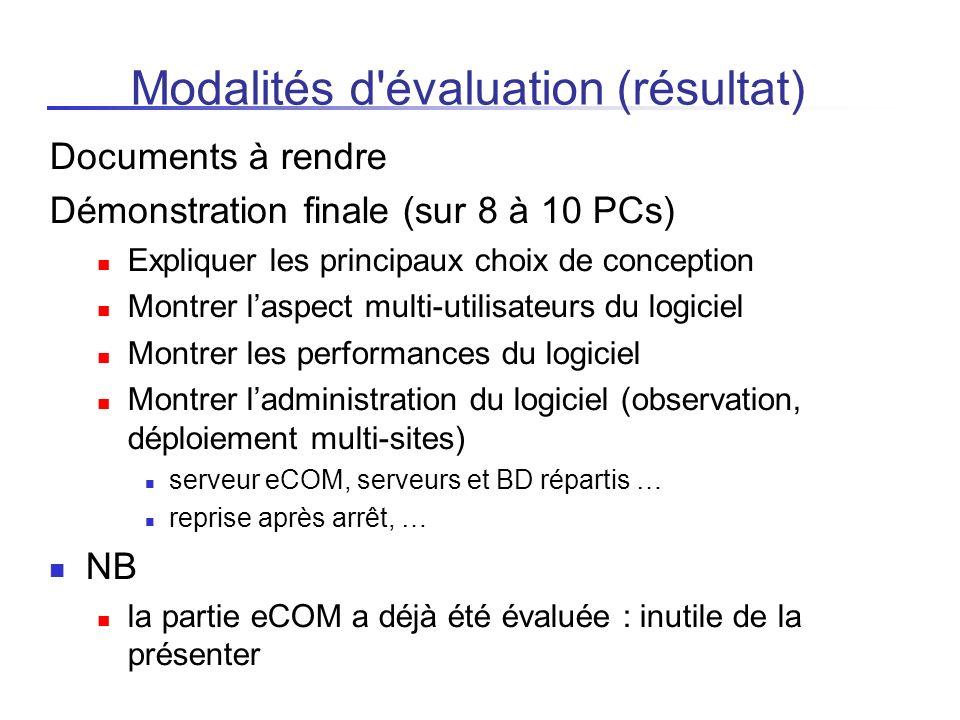 Modalités d évaluation (résultat)