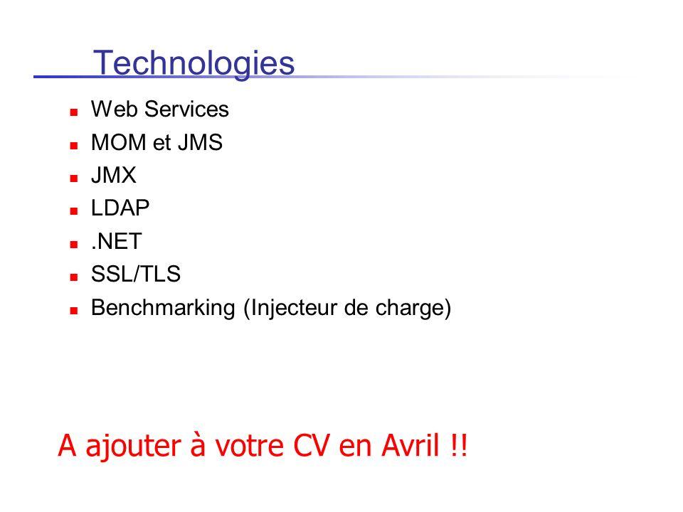 Technologies A ajouter à votre CV en Avril !! Web Services MOM et JMS
