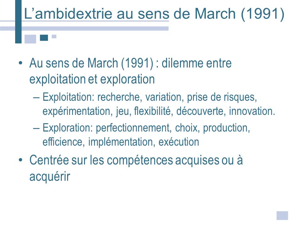 L'ambidextrie au sens de March (1991)
