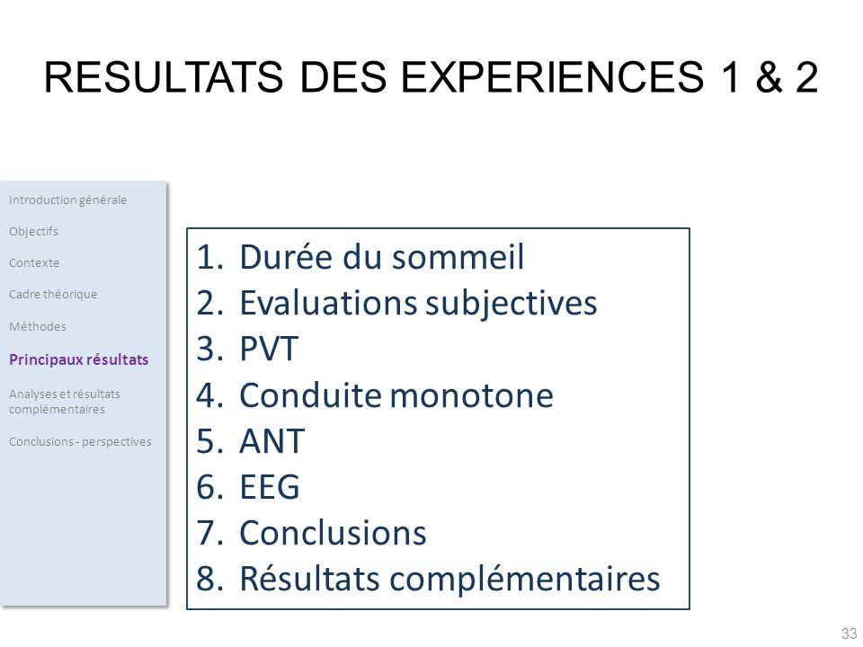 RESULTATS DES EXPERIENCES 1 & 2
