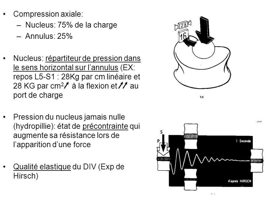 Compression axiale: Nucleus: 75% de la charge. Annulus: 25%
