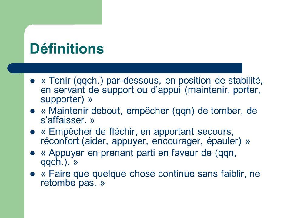 Définitions « Tenir (qqch.) par-dessous, en position de stabilité, en servant de support ou d'appui (maintenir, porter, supporter) »