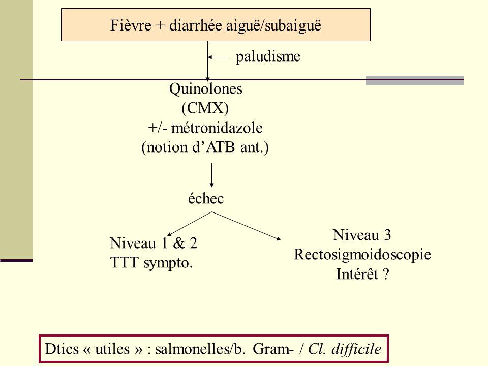 Fièvre + diarrhée aiguë/subaiguë