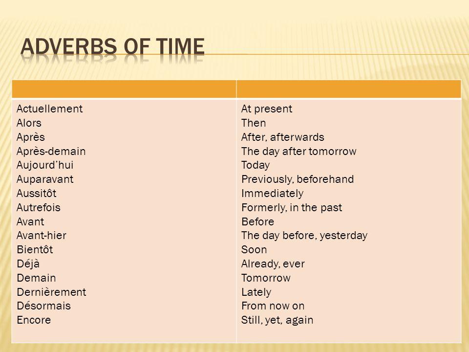 Adverbs of time Actuellement Alors Après Après-demain Aujourd'hui