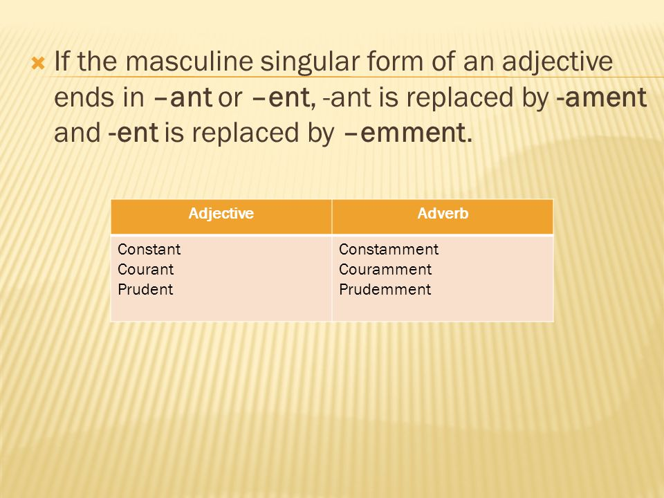 If the masculine singular form of an adjective ends in –ant or –ent, -ant is replaced by -ament and -ent is replaced by –emment.