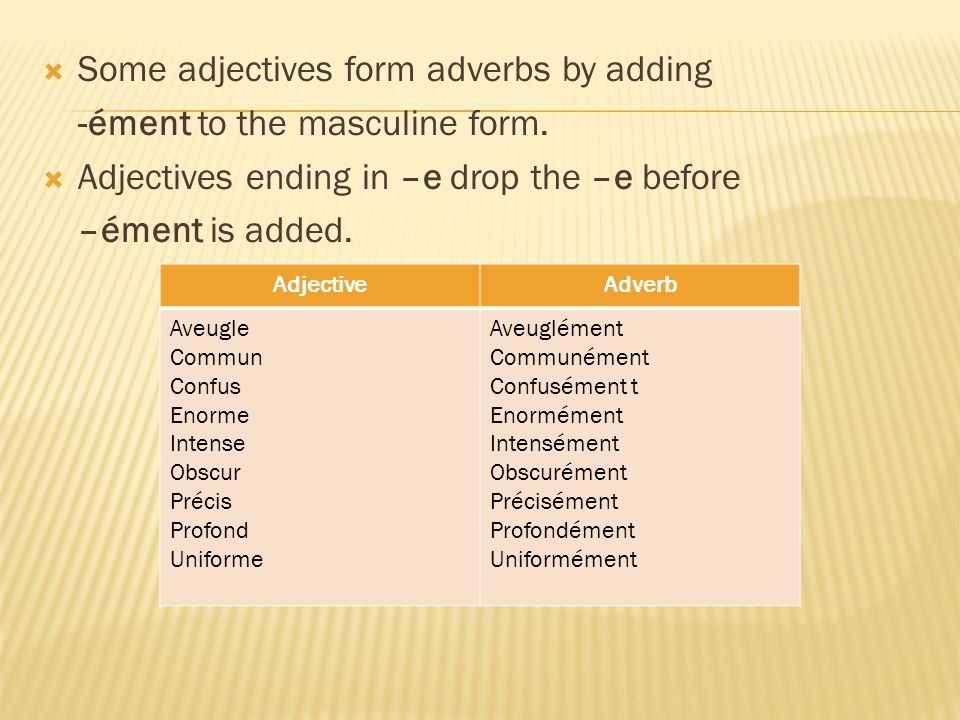 Some adjectives form adverbs by adding -ément to the masculine form.