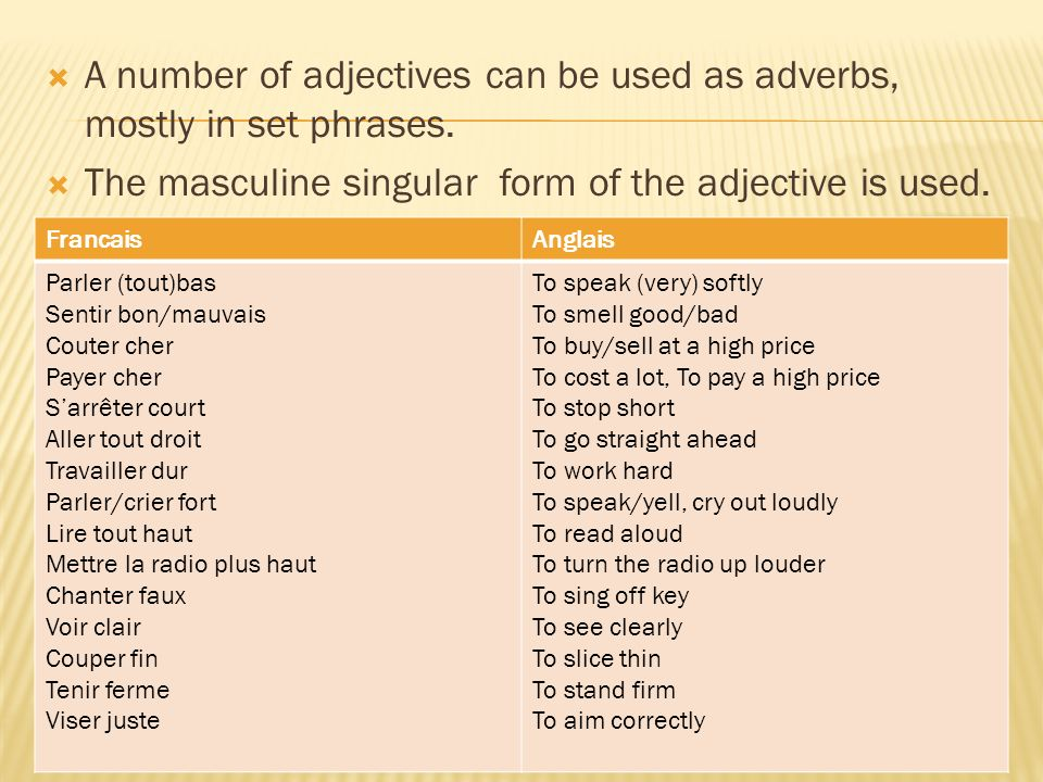 A number of adjectives can be used as adverbs, mostly in set phrases.